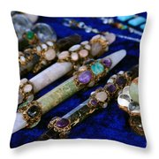 Sacred Gemstones Energy Amulets Crystal Balls Magic Wands Throw Pillow