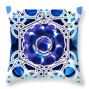 Sacred Geometry Blue Shapes Background Throw Pillow