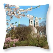 Sacred Heart And Branch Brook Cherry Blossoms  Throw Pillow
