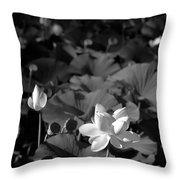 Sacred Lotus #2.    Black And White Throw Pillow