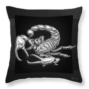 Sacred Silver Scorpion On Black Canvas Throw Pillow