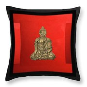 Sacred Symbols - Gold Buddha On Black And Red  Throw Pillow