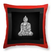 Sacred Symbols - Silver Buddha On Red And Black Throw Pillow