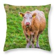 Sad Cow - Painterly Throw Pillow