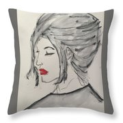 Sad Woman  Throw Pillow