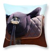 Saddle In  Throw Pillow