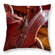Saddle In Tack Room Throw Pillow