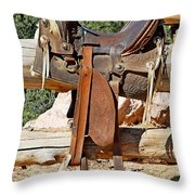 Saddle On Ranch Fence Throw Pillow