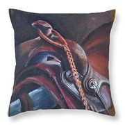 Saddle Study Throw Pillow by Jean Ann Curry Hess