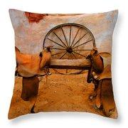 Saddle Town Throw Pillow