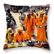 Sadhu Near The Thirupparamkunram Murugan Temple Throw Pillow