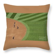 Safeco Field Abstract Patterns With Ground Crew Preparing Field  Throw Pillow
