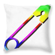 Safety Pin Rainbow Painting Throw Pillow