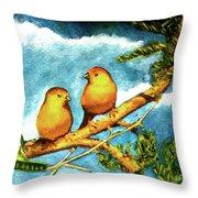 Saffron Finch Birds #88 Throw Pillow