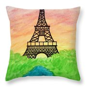 Saffron Sunset Over Eiffel Tower In Paris-watercolour  Throw Pillow