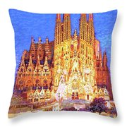 Sagrada Familia At Night Throw Pillow