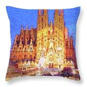 Sagrada Familia At Night Throw Pillow