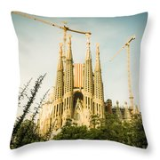 Sagrada Familia With Catalonia's Flag Throw Pillow