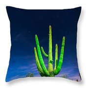 Saguaro Cactus Against Star Filled Sky Throw Pillow by Bryan Mullennix