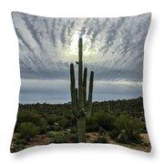Saguaro Sun Break Clouds Throw Pillow