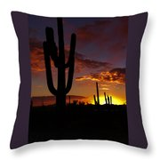 Saguaro Sunset Silhouette #2 Throw Pillow