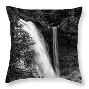 Sahalie Falls No. 4 Bw Throw Pillow