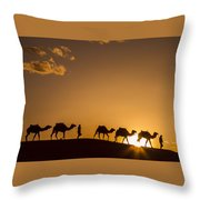 Sahara Desert Sunset Throw Pillow