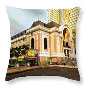 Saigon's Opera House Vietnam Throw Pillow