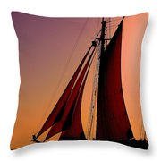 Sail At Sunset Throw Pillow