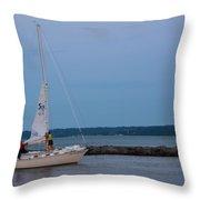 Sail Boat And Moon On Lake Ontario Throw Pillow