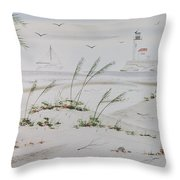Sail Boat And Sea Oat 1 Throw Pillow