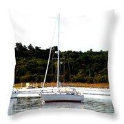 Sail Boat At Anchor  Throw Pillow