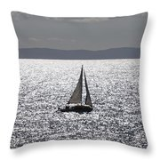Sail Boat In A Sea Of Diamonds  Throw Pillow