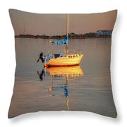 Sail Boat In Roanoke Sound 1x2 Ratio Photo Painting Img_3969 Throw Pillow