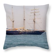 Sail Boat Near Galapagos Islands On Pacific Ocean Throw Pillow
