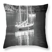 Sail Boat Yaht Parked At Harbor Bay Throw Pillow