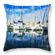 Sail Boats In Port Throw Pillow