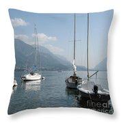 Sail Boats, Lake Como, Italy Throw Pillow