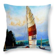 Sail Boats On The Lake Throw Pillow