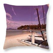 Sail Boats On Tropical Beach Throw Pillow