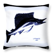 Sail Fish In Black And White Watercolor Throw Pillow