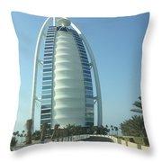 Sail-shaped Silhouette Of Burj Al Arab Jumeirah  Throw Pillow