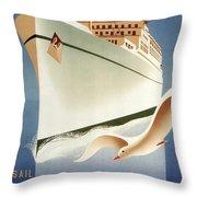 Sail White Empress To Europe - Canadian Pacific - Retro Travel Poster - Vintage Poster Throw Pillow