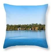 Sailboat And Cottages On Rocky Throw Pillow