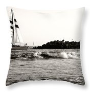 Sailboat And Lighthouse 2 Throw Pillow by Marilyn Hunt