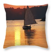 Sailboat And Sunset, South River Throw Pillow