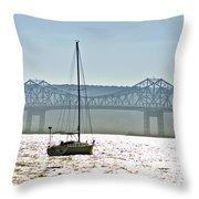 Sailboat And The Tappan Zee Bridge Throw Pillow