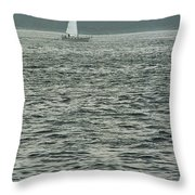 Sailboat And Waves, Piscataqua River, Maine 2004 Throw Pillow