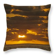Sailboat As The Sun Sets Throw Pillow
