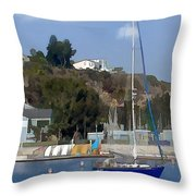 Sailboat At Anchor In Harbor Throw Pillow
